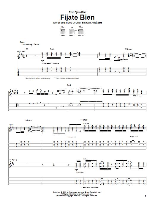 Tablature guitare Fijate Bien de Juanes - Tablature Guitare