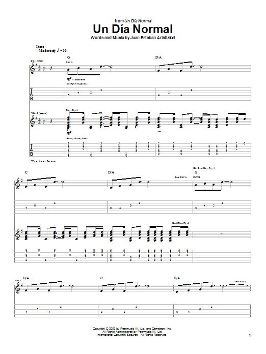 Tablature guitare Un Dia Normal de Juanes - Tablature Guitare