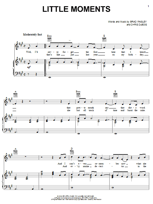 Partition piano Little Moments de Brad Paisley - Piano Voix Guitare (Mélodie Main Droite)