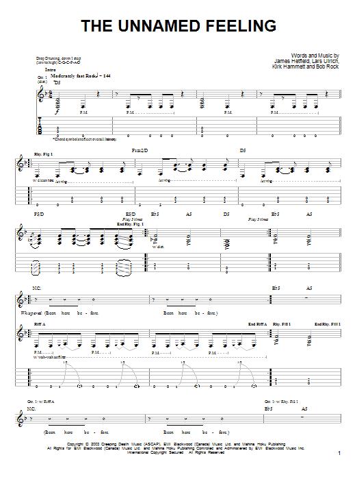 Tablature guitare The Unnamed Feeling de Metallica - Tablature guitare facile