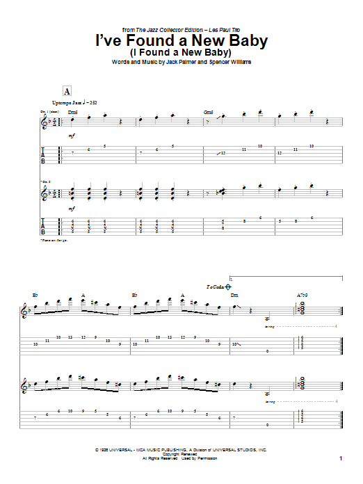 Tablature guitare I've Found A New Baby (I Found A New Baby) de Les Paul - Tablature Guitare