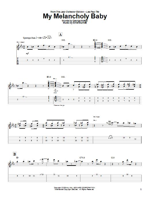 Tablature guitare My Melancholy Baby de Les Paul - Tablature Guitare