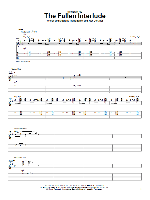 Tablature guitare The Fallen Interlude de Blink-182 - Tablature Guitare