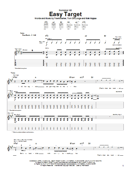 Tablature guitare Easy Target de Blink-182 - Tablature Guitare