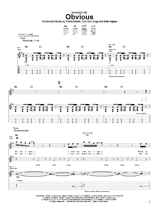 Tablature guitare Obvious de Blink-182 - Tablature Guitare