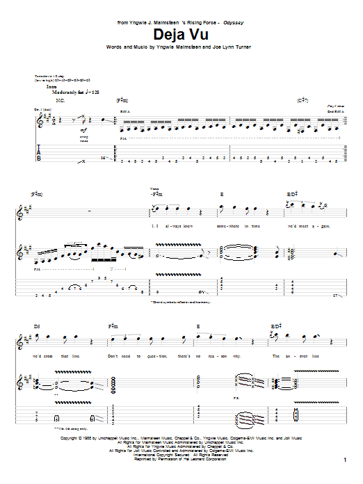 Tablature guitare Deja Vu de Yngwie Malmsteen - Tablature Guitare