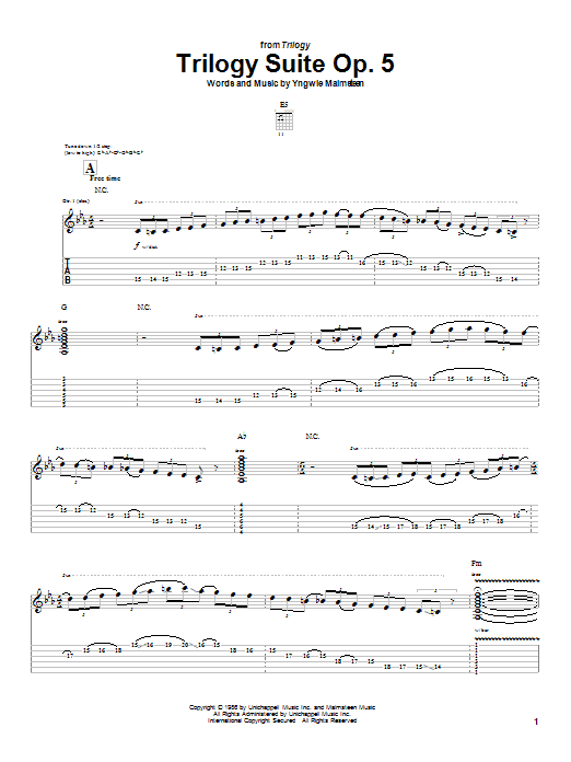 Tablature guitare Trilogy Suite Op. 5 de Yngwie Malmsteen - Tablature Guitare