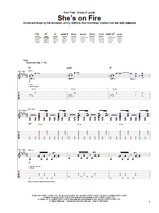 She's On Fire (Guitar Tab)