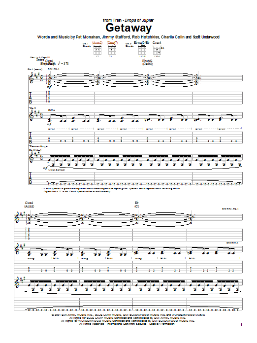 Tablature guitare Getaway de Train - Tablature Guitare