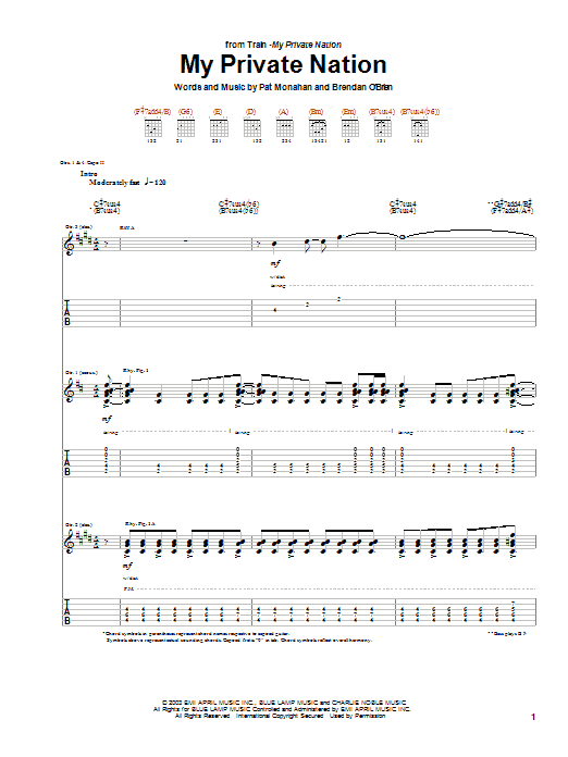 Tablature guitare My Private Nation de Train - Tablature Guitare