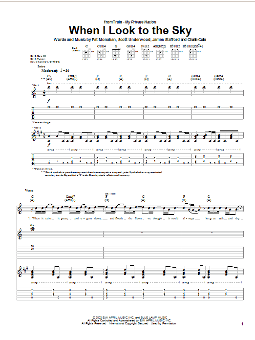 Tablature guitare When I Look To The Sky de Train - Tablature Guitare
