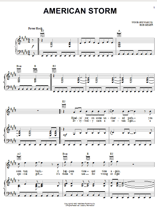 American Storm (Piano, Vocal & Guitar (Right-Hand Melody))