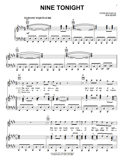 Nine Tonight (Piano, Vocal & Guitar (Right-Hand Melody))