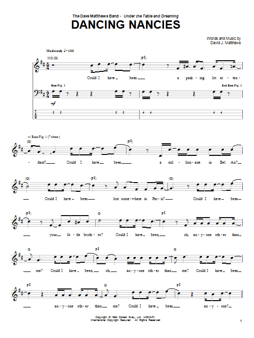 Dancing Nancies (Bass Guitar Tab)