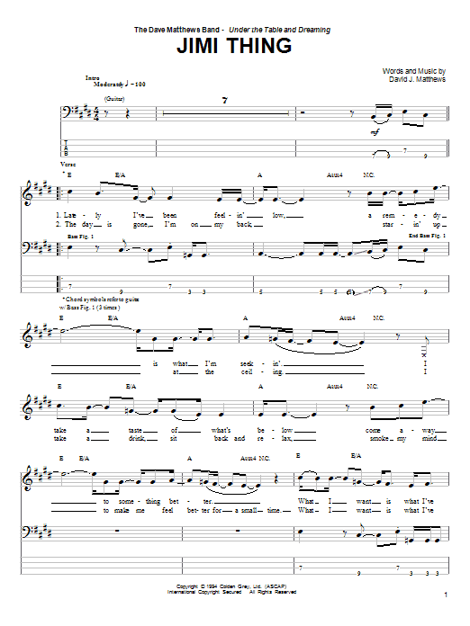 Jimi Thing Bass Guitar Tab By Dave Matthews Band Bass Guitar Tab