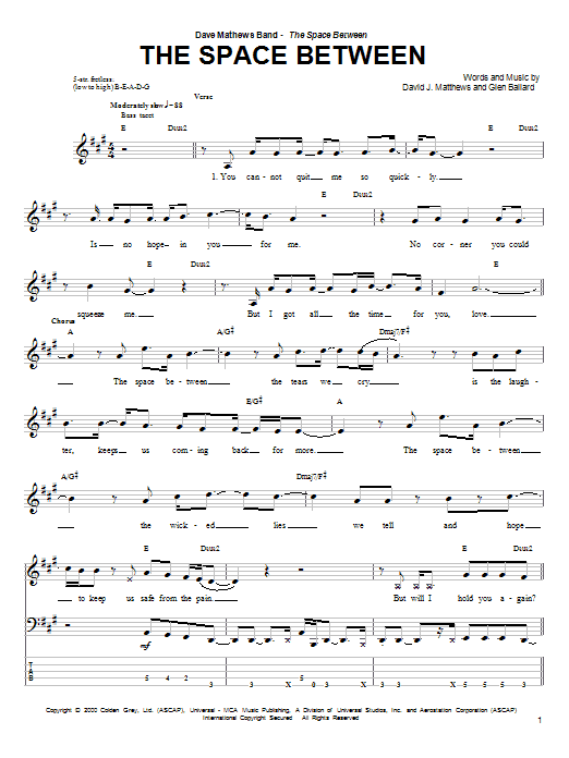 Tablature guitare The Space Between de Dave Matthews Band - Tablature Basse