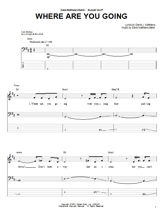 Tablature guitare Where Are You Going de Dave Matthews Band - Tablature Basse