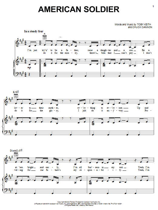American Soldier (Piano, Vocal & Guitar (Right-Hand Melody))