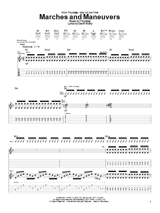 Tablature guitare Marches And Maneuvers de Thursday - Tablature Guitare
