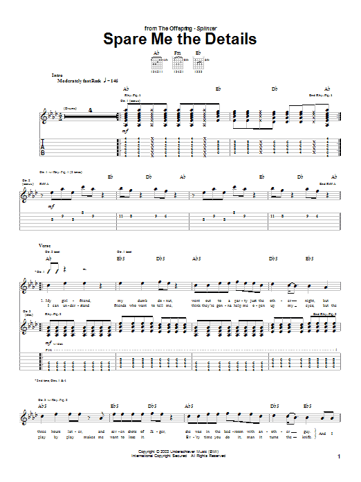 Tablature guitare Spare Me The Details de The Offspring - Tablature Guitare