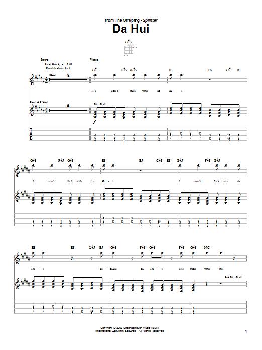 Tablature guitare Da Hui de The Offspring - Tablature Guitare