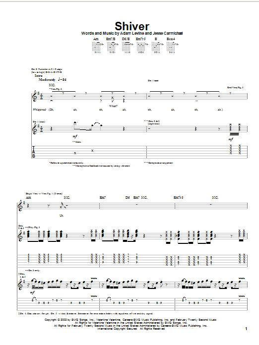 Shiver Sheet Music