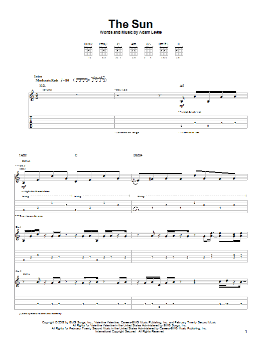 Tablature guitare The Sun de Maroon 5 - Tablature Guitare
