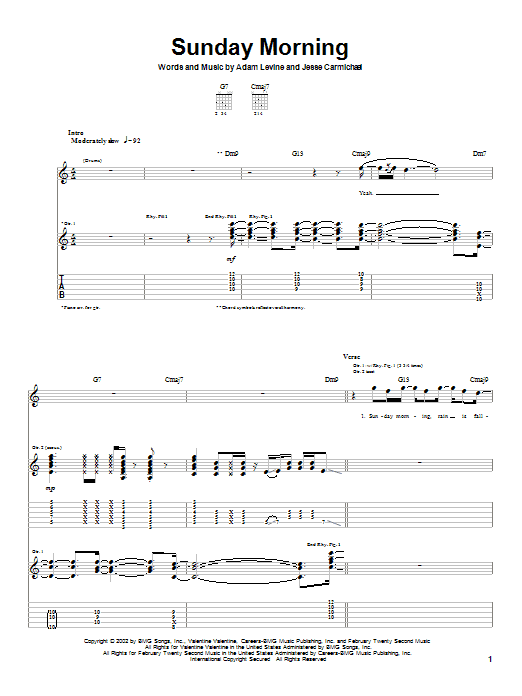 Sunday Morning (Guitar Tab)