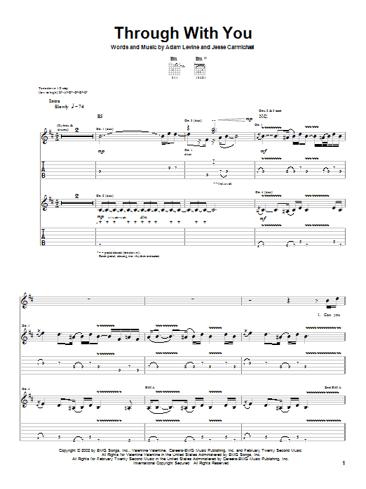 Tablature guitare Through With You de Maroon 5 - Tablature Guitare