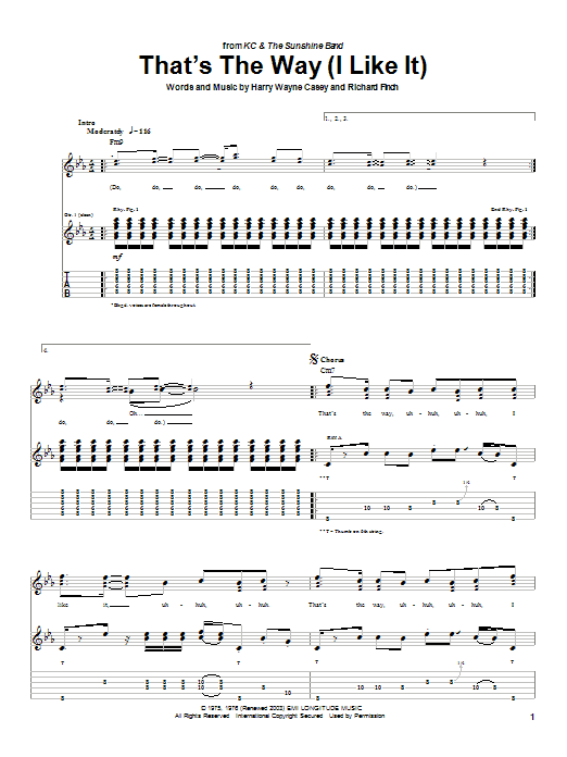 Tablature guitare That's The Way (I Like It) de KC and The Sunshine Band - Tablature Guitare