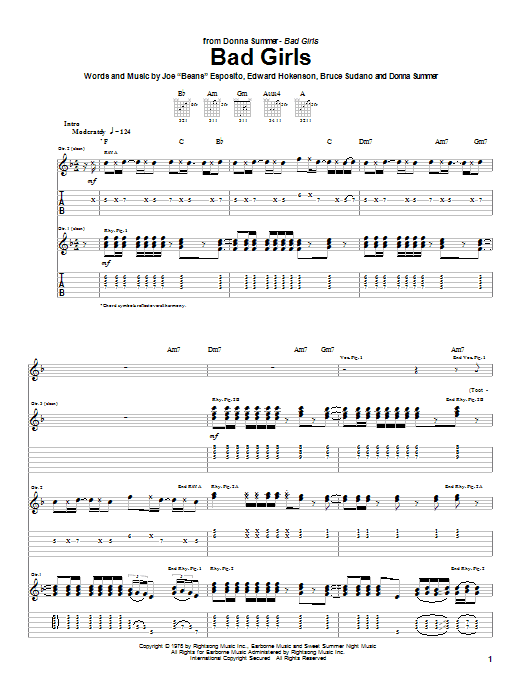 Tablature guitare Bad Girls de Donna Summer - Tablature Guitare