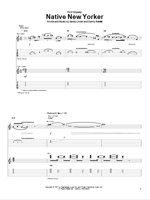 Native New Yorker Sheet Music