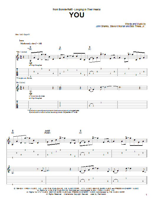 Tablature guitare You de Bonnie Raitt - Tablature Guitare