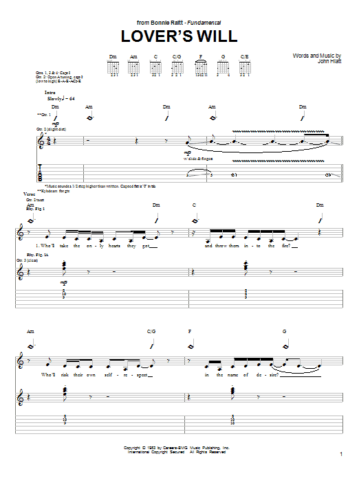 Lover's Will (Guitar Tab)