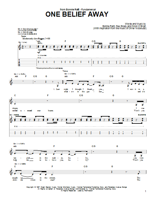 One Belief Away Sheet Music