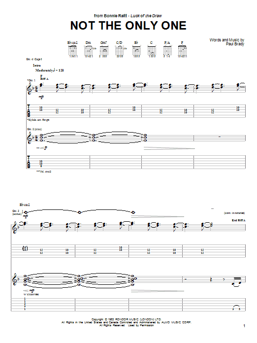 Tablature guitare Not The Only One de Bonnie Raitt - Tablature Guitare