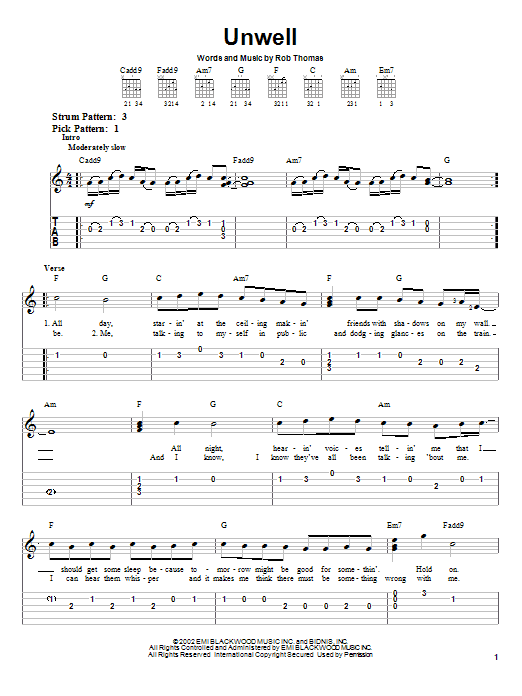 Tablature guitare Unwell de Matchbox Twenty - Tablature guitare facile