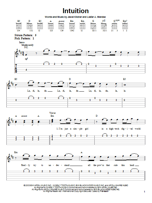 Tablature guitare Intuition de Jewel - Tablature guitare facile
