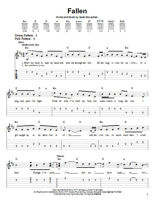 Tablature guitare Fallen de Sarah McLachlan - Tablature guitare facile