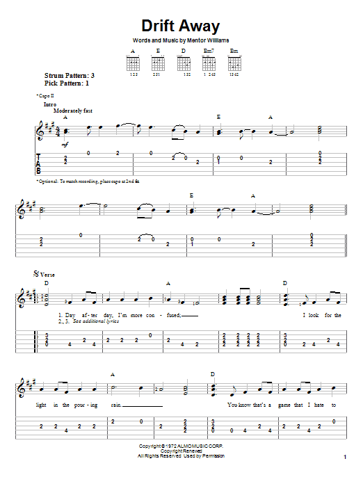 Tablature guitare Drift Away de Dobie Gray - Tablature guitare facile
