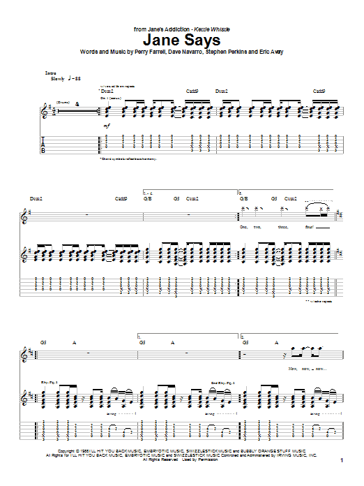 Jane Says (Guitar Tab)