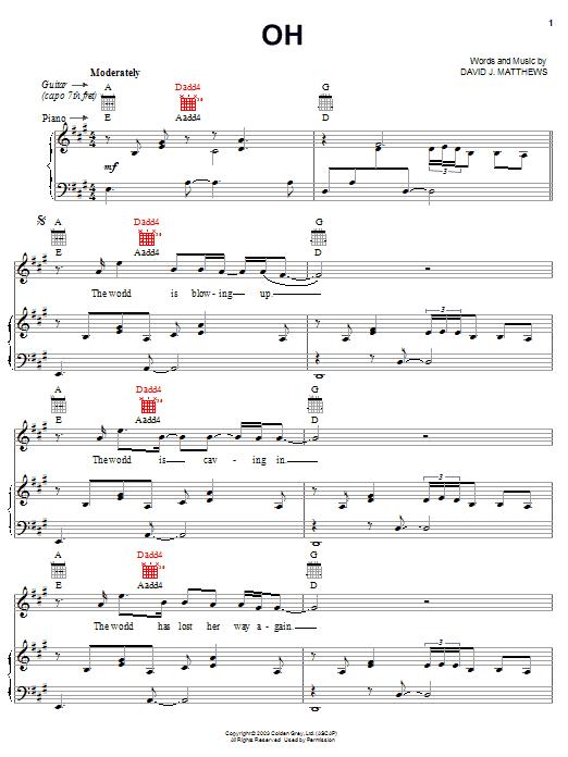 Partition piano Oh de Dave Matthews - Piano Voix Guitare (Mélodie Main Droite)