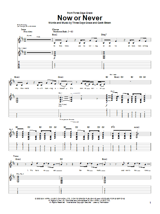 Tablature guitare Now Or Never de Three Days Grace - Tablature Guitare