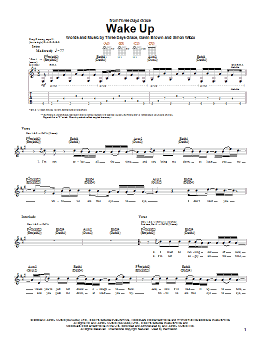 Tablature guitare Wake Up de Three Days Grace - Tablature Guitare
