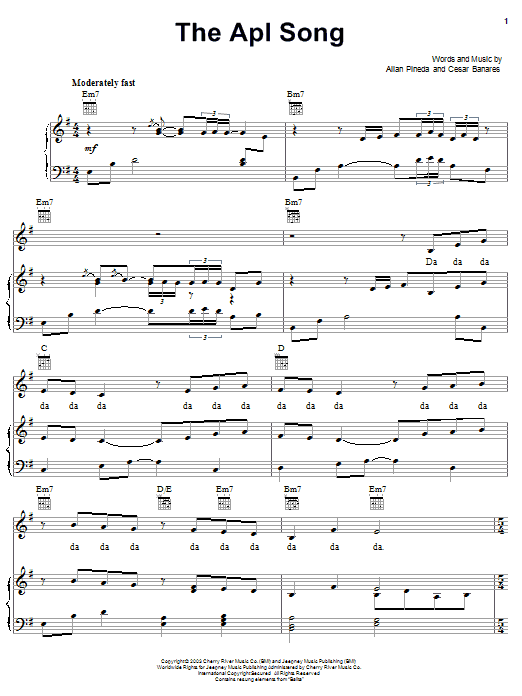 The Apl Song Sheet Music