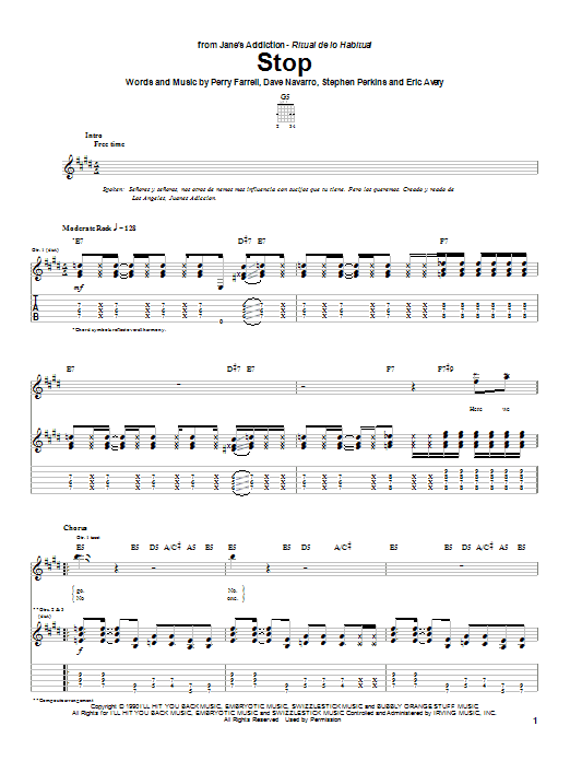 Tablature guitare Stop de Jane's Addiction - Tablature Guitare
