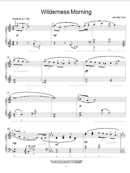Partition piano Wilderness Morning de Jennifer Linn - Piano Solo