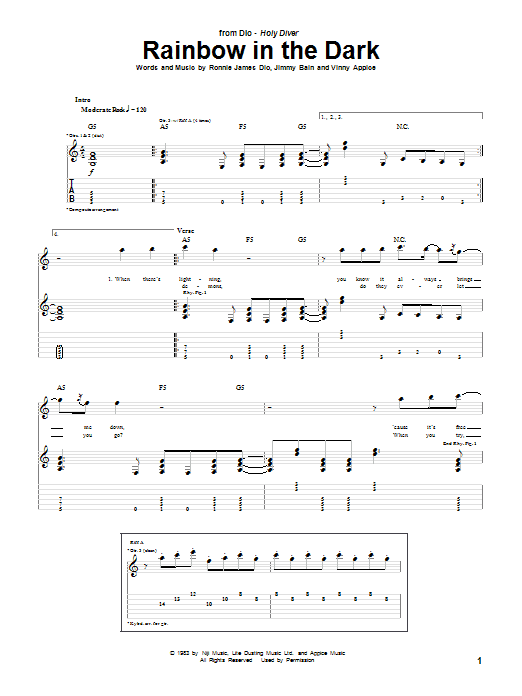 Tablature guitare Rainbow In The Dark de Dio - Tablature Guitare