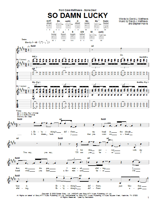 Tablature guitare So Damn Lucky de Dave Matthews - Tablature Guitare