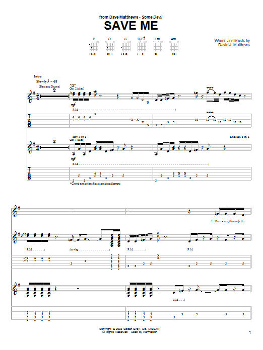 Tablature guitare Save Me de Dave Matthews - Tablature Guitare
